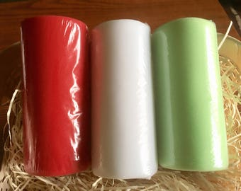 "Red, Mint Green, or White Tulle Ribbon - 6"" wide at 25 yards"