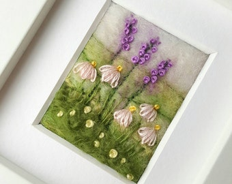 Felted and embroidered miniature landscape with foxgloves - original fiber art inspired by the British countryside