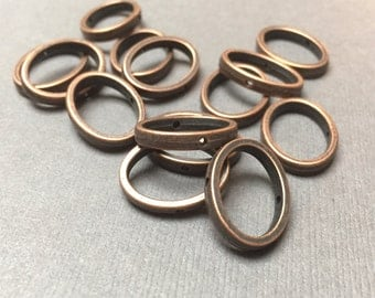 Oval Jump Ring. Antiqued Bronze. Large Jump Ring. Center Drilled. Connector. 14mm x 17mm. Fifteen (15).