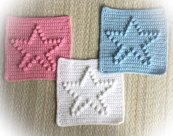 "Star Block Blanket Pattern -  9"" x 9"" blocks - Size Chart from Baby to Adult blankets or afghans"