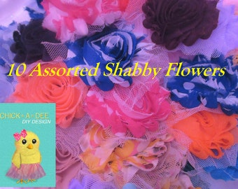 10 Assorted Shabby Flowers, Grab Bag, Wholesale, DIY Flower, Wholesale Flower,Shabby Hair Flower, Fabric Flower, Embellishment