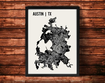 Austin Map Artwork   Map of Austin   Austin Texas Map   Austin City Map   Austin Poster   Austin Wall Art Print