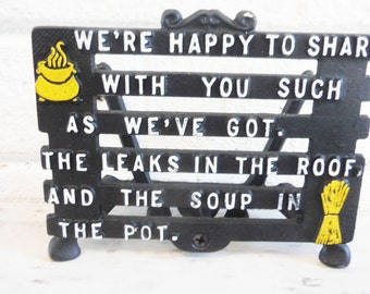 Napkin holder metal quote sharing happy home welcome primitive rustic kitchen vintage black and yellow