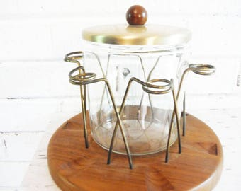 Vintage pipe stand and tobacco jar, mid century man, smoking accessory, mid century tobacco jar wood and glass, danish Modern, tobacciana