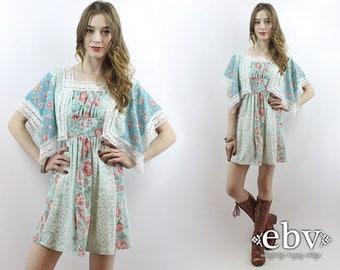 Hippie Dress Angel Sleeve Dress Scarf Dress Hippy Dress Boho Dress Summer Dress Festival Dress Babydoll Dress 1970s Dress 70s Dress XS S