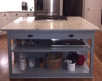 Reclaimed solid wood Kitchen island/Restoration Hardware inspired