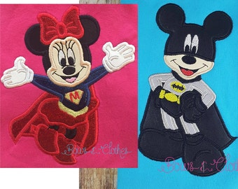 Mice Heroes set of 2 Appliques 4x4 5x7 and 6x10 hoop instant download