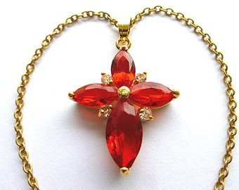 Star of Bethlehem Cross, Goldplated Simulated Ruby Cross, Red Gemstone Cross, Vintage NOS (New Old Stock) Cross Necklace, Petite Cross