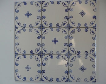 Blue and White Delft French Country majolica geometric ceramic tiles 4 x 4
