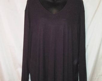 "90s Vintage Plum Silky Jersey Pullover Top-Carole Little-Plus Size 3X--58"" Bust-Office Casual Party-Slinky-Long Sleeves"