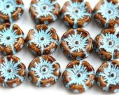 12mm Pansy flower bead, Brown and Blue Patina Inlays Czech glass Flowers, Daisy, Rustic floral beads - 10pc - 2832
