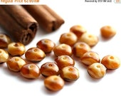 ON SALE Caramel brown Czech Glass beads - Spacers, rondelle, triangle - 4x7mm - 20Pc - 0138