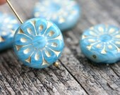 18mm Mixed Blue and Golden Flower beads, 2pc Czech glass Round tablet floral ornament beads, 2pc - 0370