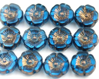 12mm Indicolite Blue Pansy flower bead, Bronze Luster, Czech glass fire polished Flowers, table cut Daisy, floral beads - 6pc - 2135
