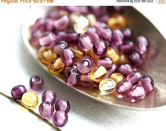 ON SALE Beads mix, round czech beads, Purple violet and Amber yellow, glass spacers, druk - 4mm - approx.80Pc - 1304