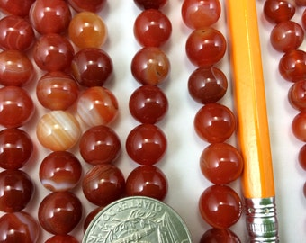 Natural Carnelian 8mm/10mm Round Beads, Full Strand G52224