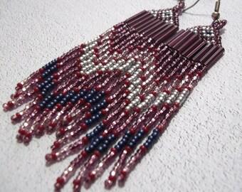 Purple silver blue, seed bead earrings, long fringe earring, statement earrings, boho earrings, colorful earrings, bold earrings, metallic