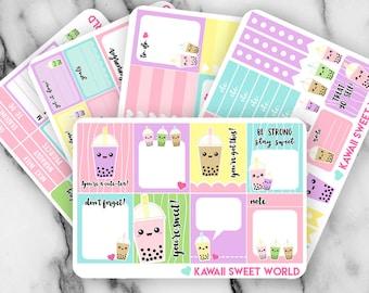 Kawaii Bubble Tea Sticker Set | Erin Condren Planner Stickers