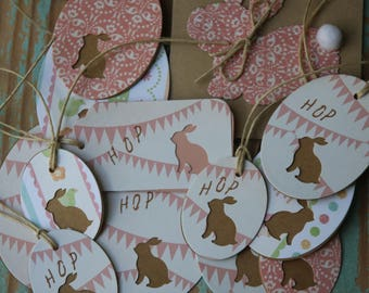 12 Handmade Bunny Tags + 1 Bunny Gift Card ~ New Baby ~ Baby Shower Favour