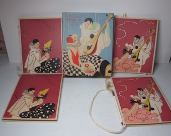 Gorgeous art deco boxed set of Gibson 4 Finesse Bridge Set decorative score pads Flappers in elaborate costumes serenaded by pierrot clown