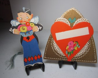 P. F. Volland art deco 1920's-30's die cut gold gilded 2 piece valentine bridge tally and place card angel in suit with wings,red heart
