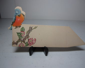 Colorful art deco die cut 1920's-30's Hallmark cute unused place card blue and orange colored bird perched above pink flowering tree branch