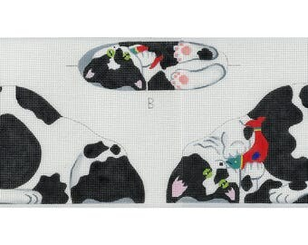 Needlepoint Cat Canvas - Tuxedo Kitten front, back and bottom