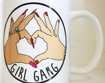 Girl Gang Printed Mug Cute Personalised Custom Gift Christmas Secret Santa Tumblr Cuppa Brew Funny Feminist Riot Grrrl Punk Sassy