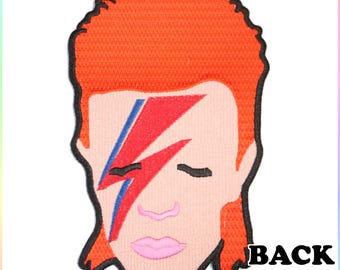 Extra Large David Bowie Iron On Back Patch Embroidery Sewing DIY Customise Denim Cotton 80's Rock n Roll Glam Aladdin Sane Ziggy Stardust
