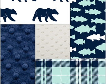 Fishing Bear Patchwork Blanket- Bear, Fish, Plaid, Navy Minky, and White Minky Patchwork Baby Blanket