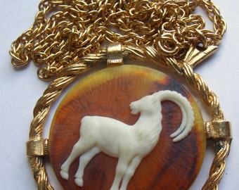 Vintage Ram / Aries Cameo Necklace