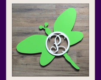 """Dragonfly Door Hanger with Letter - Painted Wood - 22"""" size - Family - Insect - Spring - Summer - Wooden Letter - Wall Hanging - Monogram"""