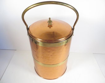 Vintage Mid Century Copper Ice Bucket - Copper Brass Ice Bucket