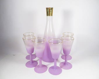 Mid Century Lavender Blendo Carafe and 6 Wine Glasses - Beautiful Lavender Purple Glass Pitcher and Wine Glasses