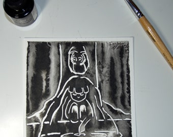 Midnight in the Forest - Original Painting - Ink