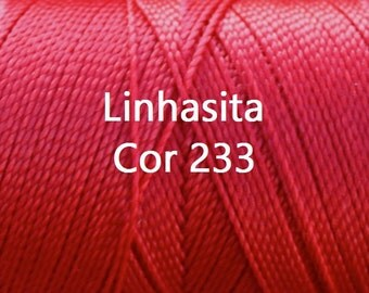 Linhasita Deep Red Cor 233 - Waxed Polyester Cord Washable, durable/ Hilo/ Spools