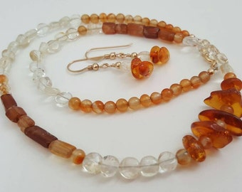 Amber Garnet Necklace, Hessonite Garnet, Citrine, Carnelian and Amber 14kt GF necklace Set, Necklace Earrings Set, Women's Necklace, Baltic