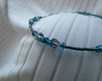 Smokey Gray, Black Lined Emerald, Silver Lined Bermuda and Teal Glass Bead Anklet
