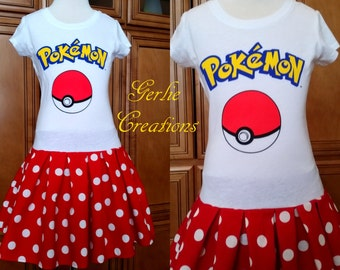 POKEMON POKEBALL Dress, Girls Dress, Pokeball, Pokemon Dress, Pokeball Dress, White Red  T-Shirt Dress - Last One S 6/6X