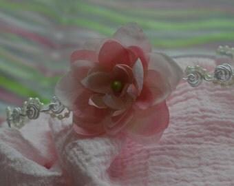 Pink Flower Headband and Wrap Set...Newborn Headband...Baby Girl Headband...Pink Wrap...Photo Prop...Newborn Set...Newborn Wrap...Pink