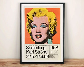 WARHOL EXHIBITION POSTER: Marilyn Monroe Pop Art Reproduction Art Print Wall Hanging