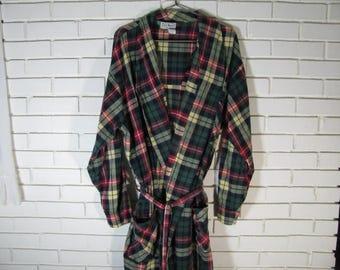 Vtg plaid cotton flannel robe size 2X ? waist 60''