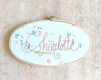 Personalized Mint, Coral and Gold Name Sign Embroidery Hoop Boho Nursery Wall Art Housewarming Gift