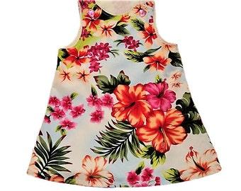 Floral Sun Dress, Baby Dress, Hawaiian Baby Dress, Summer Dresss, Easter Dress, Cotton Jumper Dress, Toddler Dress, Size 18 Mo Ready To Ship