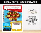 EDITABLE Teacher Appreciation LUNCH Superhero Flyer - Superhero Printables