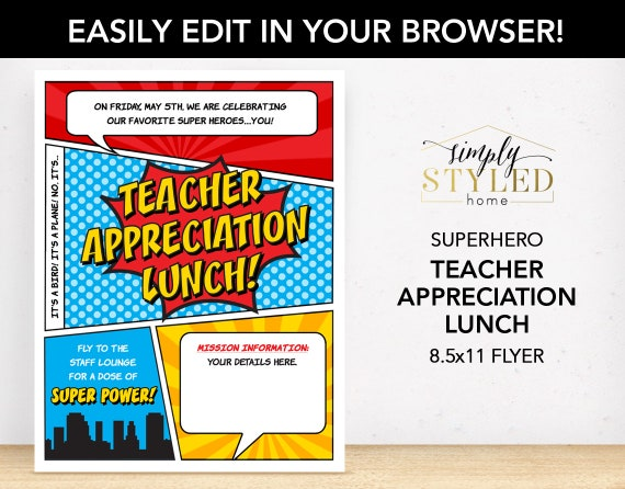 EDITABLE Teacher Appreciation LUNCH Superhero Flyer