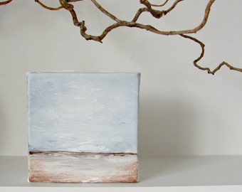 CLEARANCE SALE Landscape Painting in an Impressionist Style--Big Sky, Horizon, Quiet Land Below--Original Abstract Acrylic Art Block