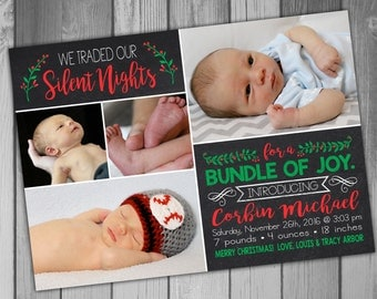 Christmas Birth Announcement Christmas Baby Announcement Birth Announcement Holiday Birth Announcement Baby Announcement Printable Birth