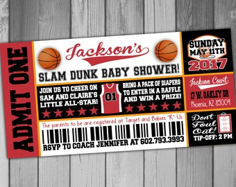 Basketball Baby Shower Invitation Coed Baby Shower Invitation Couples Baby  Shower Basketball Ticket Invitation Sports Baby
