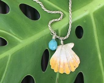 Short n Sweet Sunrise Shell Necklace with Blue Jade